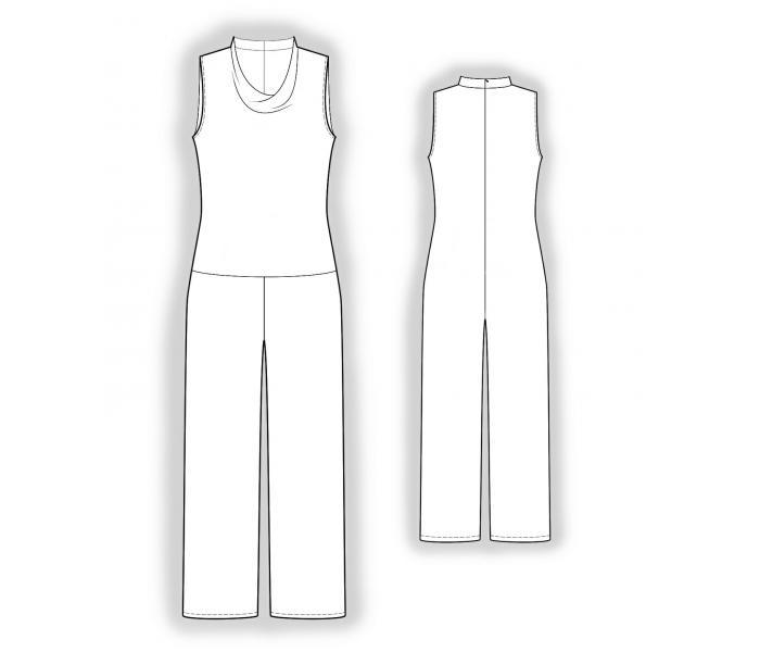 Комбинезон с декоративной горловиной - Выкройка #4035 Made-to-measure sewing pattern from Lekala with free